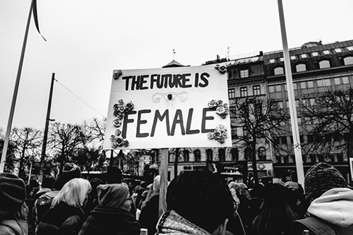 An image taken by Photographer Lindsey LaMont, the image includes people at a protest holding a sign that reads 'The Future is Female'